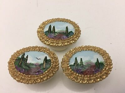 """Vintage Hand painted Italian Wooden Small Oval Drawer Pulls Knobs 1 1/2"""" Wide"""