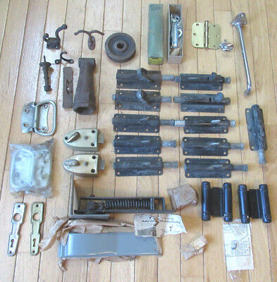 Vintage Lot of Salvage & NOS Hardware - Dead Bolts, Hinges, Hooks & More