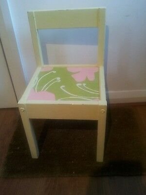 Children Distressed. Girl Decoupage Chair  Handpainted pale yellow, Green & pink