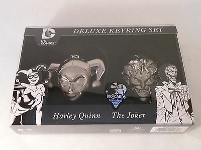 NYCC 2014 Exclusive JOKER HARLEY QUINN Limited Pewter Key Ring chain Set Batman