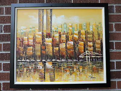 Vintage MID-CENTURY MODERN Abstract Yellow NEW YORK City Twin Towers Painting
