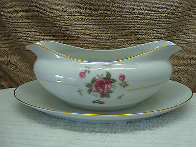 Fine China, Japan Gemini Rose gravy boat w/ attatched under plate.