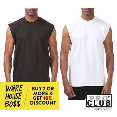 Proclub Pro Club Mens Casual Sleeveless T Shirt Plain Tank Top Muscle Shirts