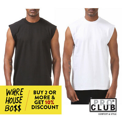 Proclub Pro Club Mens Plain Sleeveless Casual Tank Top Active Cotton Muscle Tee