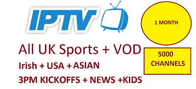1 Months IPTV Subscription Warranty (UK Ch + VOD) MAG, Android, SmartTV, M3U