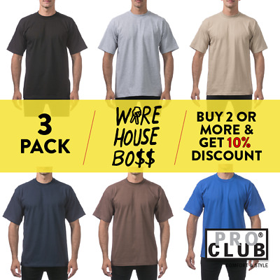 3 Pack Proclub Pro Club Mens Plain Short Sleeve T Shirt Heavyweight Cotton Tee