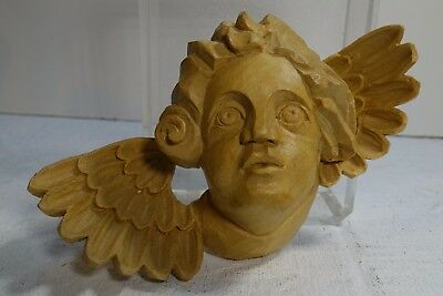 """Dgo130 Hand Carved Wood Vintage Angel Head And Wings 3 1/2"""" Wide"""