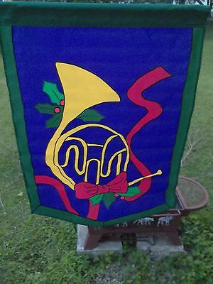 Vintage New French Horn with Mistletoe 28 x 40 Large Garden Decorative Flag