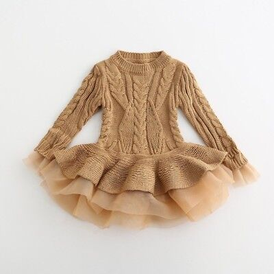 Girls Infant Toddler Brown Sweater Tutu Lace Dress, Fall Winter Size 4