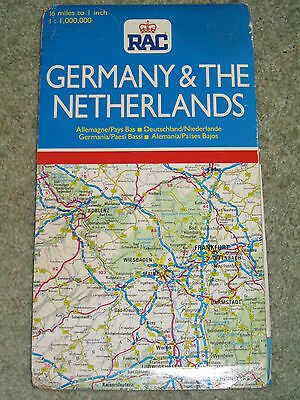 RAC Road map - Germany & The Netherlands  - 1989 edn. - Scale 1:1,000,000