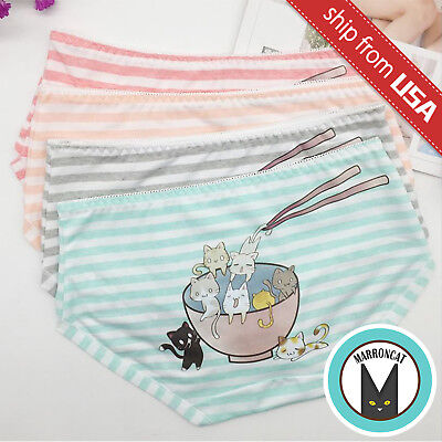Kawaii Cute Cartoon Cat Kitten Kitty 95% Cotton Panty Women's Underwear Size S-M