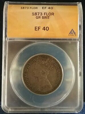 1873 GREAT BRITAIN Gothic 1 Silver Florin GRADED Slabbed XF40 SWEET .925 EF40 UK