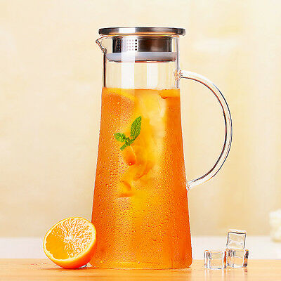 1.5L/50OGlass Water Carafe Iced Soda Pitcher Teapot Stainless Steel Lid Infuser