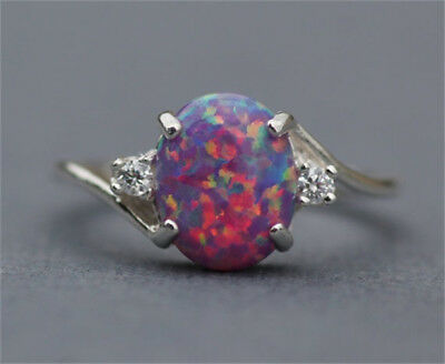 Fashion 2.3Ct Fire Opal Women 925 Silver Ring Wedding Engagement Party Size 5-11