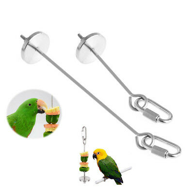 1Pc Bird Parrot Stainless Steel Skewer Food Meat Stick Spear Fruit Holder Toys