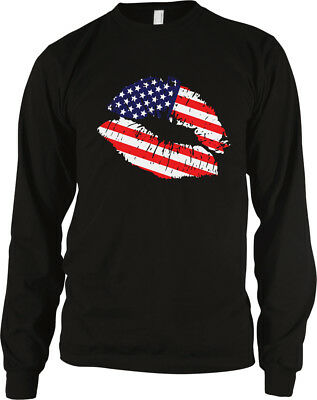 American Flag Colors United States Lipstick Kiss Lips Heritage USA Men's Thermal