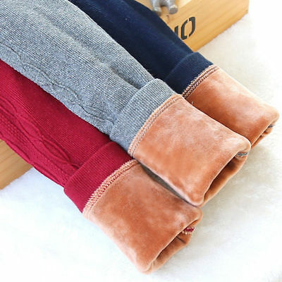 Winter Kids Girl Warm Fleece Lined Thick Leggings Stretchy Thermal Pants Trouser