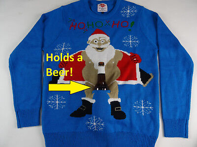 Men's Ugly Christmas Holiday Sweater Holds a Beer Holder Santa Flashing New