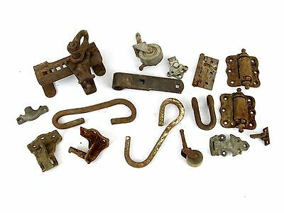 Lot of Antique Architectural Salvage Hooks Door Hardware Hinges casters wheels