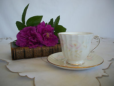 Duchess Delicate Pastel Pink Flower Gold Trip Cup and Saucer M103