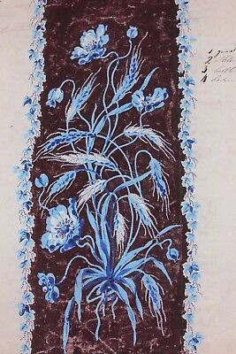 Antique French 19thC Hand Painted Gouache Of Blue Floral & Wheat Design-Artwork