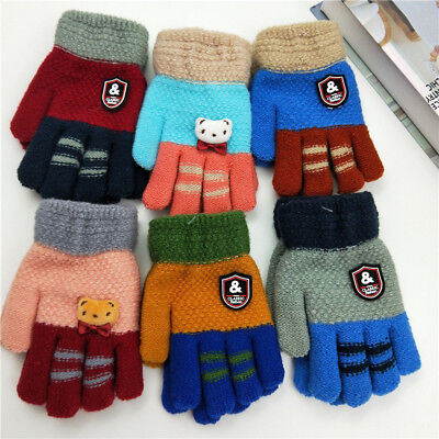 Child Kid Toddler Girl Boy Winter Warm Thick Finger Gloves Knitting Wool Mittens