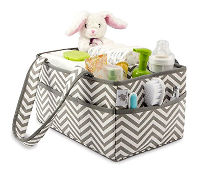 Nursery Storage Bin and Organizer  Little Grey Rabbit In White and Gray Chevron