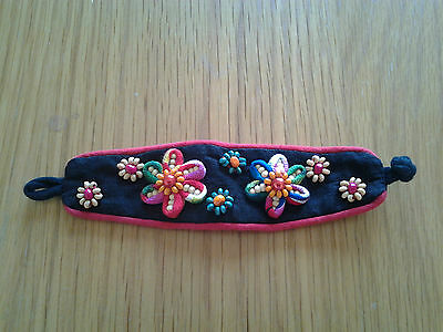 unusual colourful hand-made cloth bracelet in Chinese style + wooden bead flower