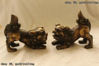 "5""Chinese Folk Bronze carved excellent Lucky Lifelike Two Lion Statue Pair"