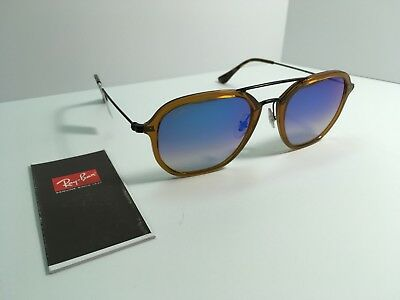 New Ray-Ban Authentic Square Brown Blue Mirrored RB4273 6258 8B 52mm  Sunglasses 200d00f5f4c9