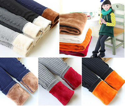Kids Girl Warm Thick Leggings Fleece Lined Stretchy Winter Thermal Pants Trouser
