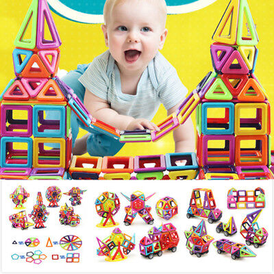 166Pcs DIY 3D Multicolour Magnetic Blocks Construction Building Kids Xmas Toys