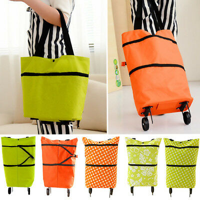Lightweight Large Trolley Wheel Shopping Push Cart Wheeled Folding Luggage Bag