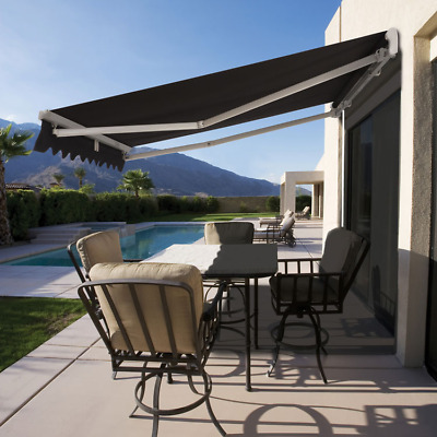 Luxury Roll Out Retractable Folding Arm Awning Beige or Black 3.95m or 3.45m