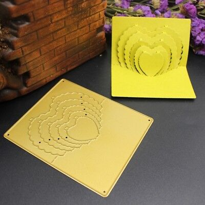 Gold Metal Cutting Dies 3D Stereo Love Heart Scrapbooking Embossing Stencil Mold