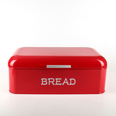 X384 Red Square Metal Large Kitchen Storage Tin Canister/Bread Box/Bin/Container