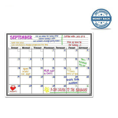 "17x12"" Monthly Magnetic Dry Erase Calendar White Board for Refrigerator"