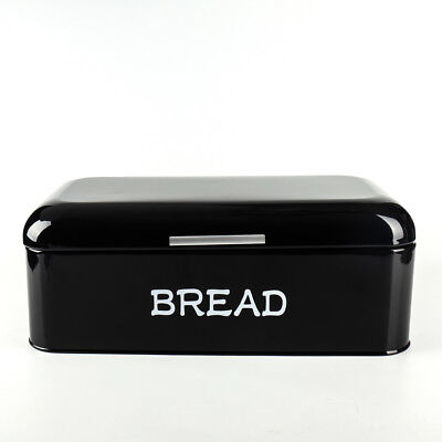 X384L Black Metal Large Kitchen Storage Tin Canister/Bread Box/Bin/Container