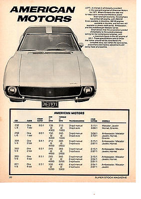 1971 American Motors Engine Specifications  ~  Original Single-Page Article / Ad