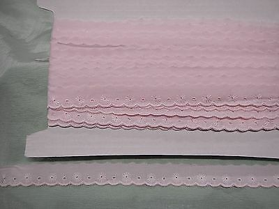 Broderie Anglaise Flat Pink  Lace - 20. metres