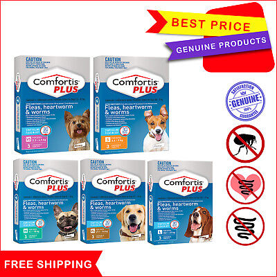 COMFORTIS PLUS Flea Heartworm Control for Dogs All Sizes 3 Chews EXPIRY JUNE-19