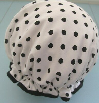 QUALITY SHOWER CAP JAPANESE COTTON WHITE WITH BLACK   POLKA DOTS  water proof