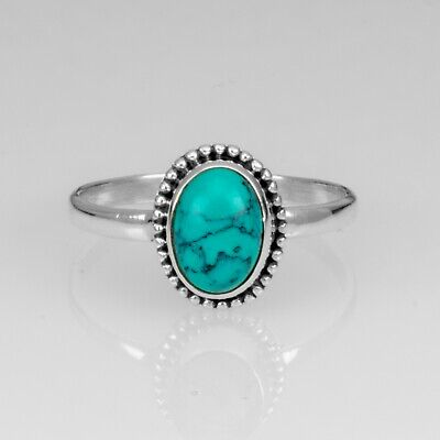 925 Sterling Silver Ladies Turquoise Oval Ring Big Stone - Various Sizes, Gift