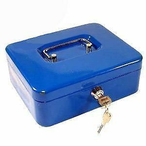 "12"" Blue Metal Cash Box Money Bank Steel Tin Security Safe Petty Key Lockable"