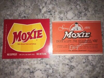 Moxie Vintage Soda Bottle Labels New Old Stock Unused 2 Different Types