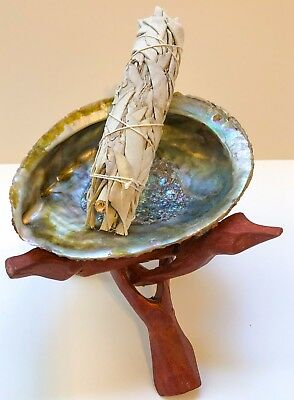 Abalone shell, Wood Stand, California White Sage Smudge - House Cleansing Kit