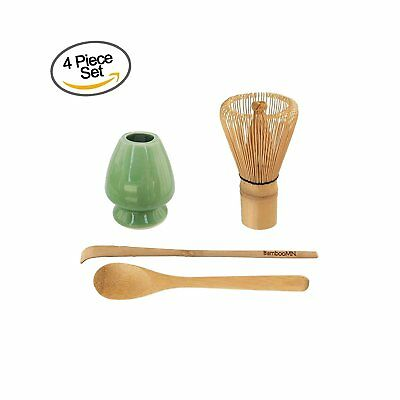 BambooMN Brand - Matcha Green Tea Whisk Set - Whisk + Scoop + Tea Spoon + Soft