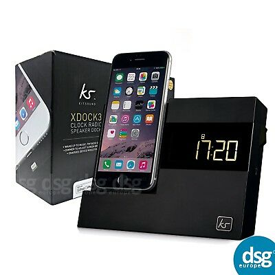 KitSound XDock3 Lightning Connector Clock Radio Dock Black for Iphone 5 6 7 8