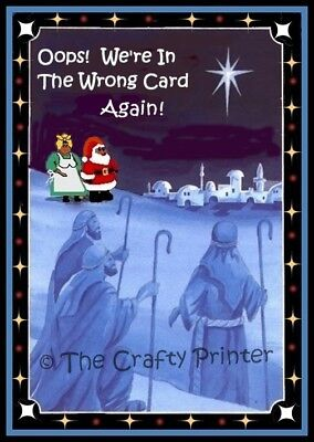 """SET of SIX - BLACK AMERICANA CHRISTMAS CARDS - """"Oops! We're in the Wrong Card!"""""""