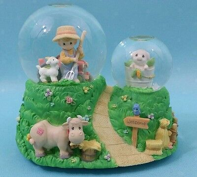 Precious Moments Musical Double Water Globe Enesco Old Mcdonald Had A Farm 2000